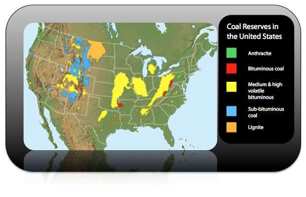 Mapa zásob uhlí Spojených států.