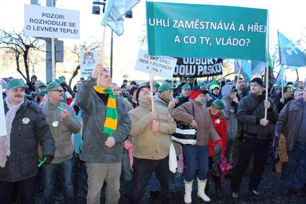 Demonstrace horníků v Praze. Foto: Petr Kolev